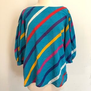 Vintage 70's Colorful Striped Top Size Large